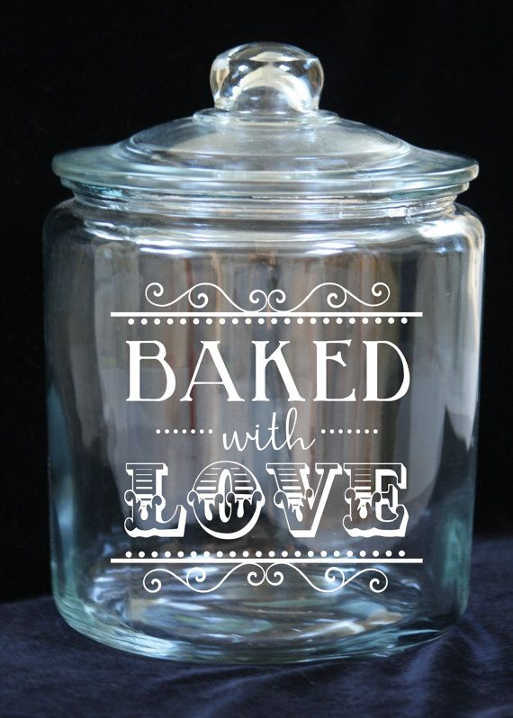 1 Gallon Glass Cookie Jar  Baked with Love  Custom by JoyousDays
