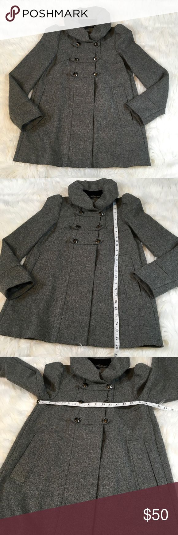 French Connection Women's 100% Virgin Wool Coat French Connection Women's Virgin Wool Coat Size 2 Gray.  Gently used condition with no flaws.  100% Virgin Wool.  Please see pictures for measurements.  Smoke free home. French Connection Jackets & Coats Pea Coats