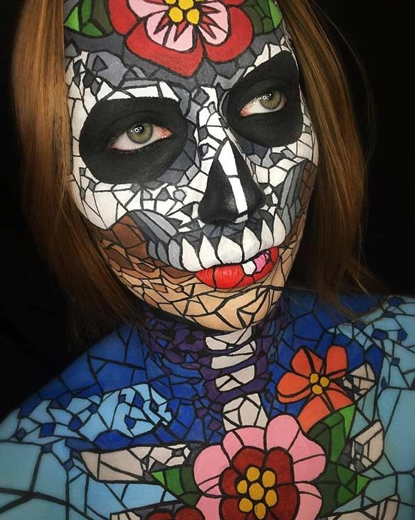 Stained Glass Skull Halloween Makeup Look                                                                                                                                                                                 More