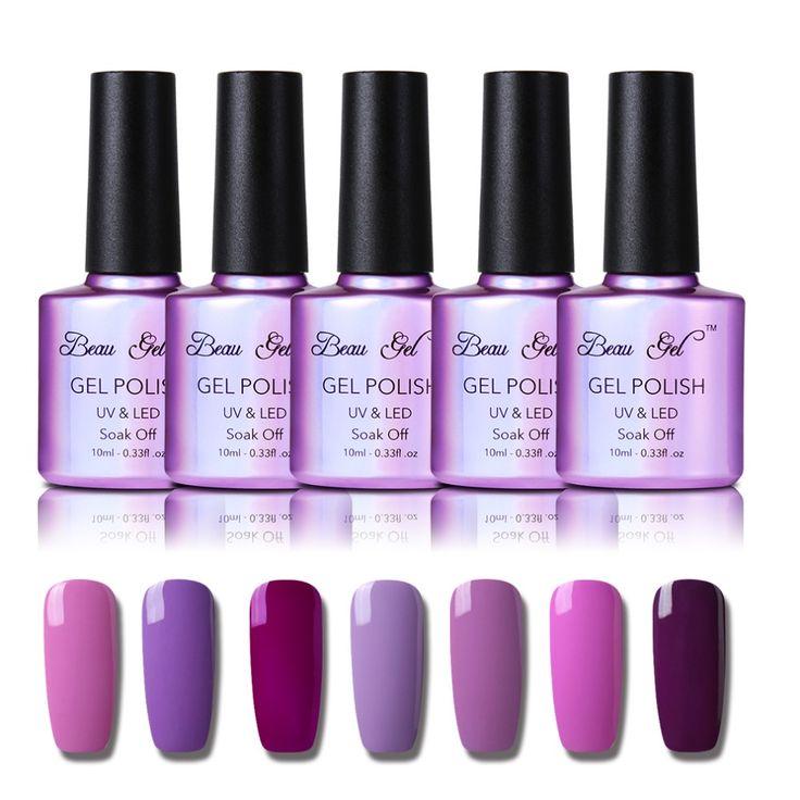 Beau Gel Pink Purple Nail Polish Bling Shiny Surface UV Gel Nail Polish Semi Permanent Polish 10ml Gel Varnish Gelpolish