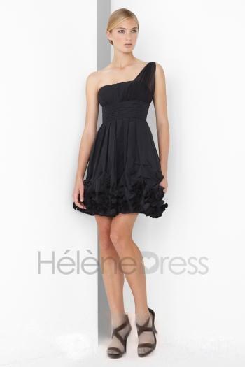 Black Short/Mini-Length One-Shoulder A-Line Cocktail Dress - Cocktail Dresses - Special Occasion Dresses