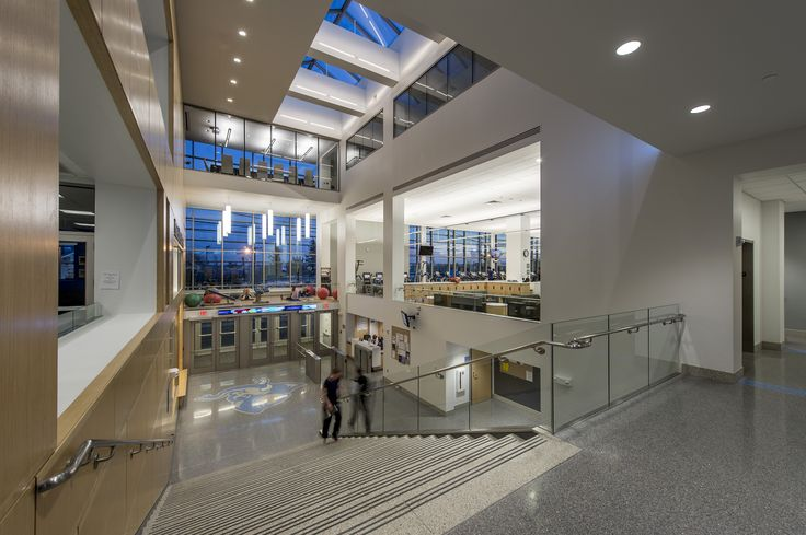 Entrance lobby of Tufts University's Steve Tisch Sports & Fitness Center designed and constructed by Stanmar, Inc.