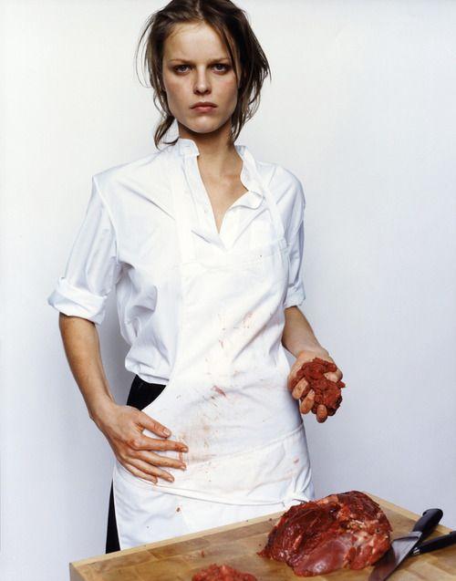 """The Butcher"" Eva Herzigova by Mario Testino for The Face 1997"