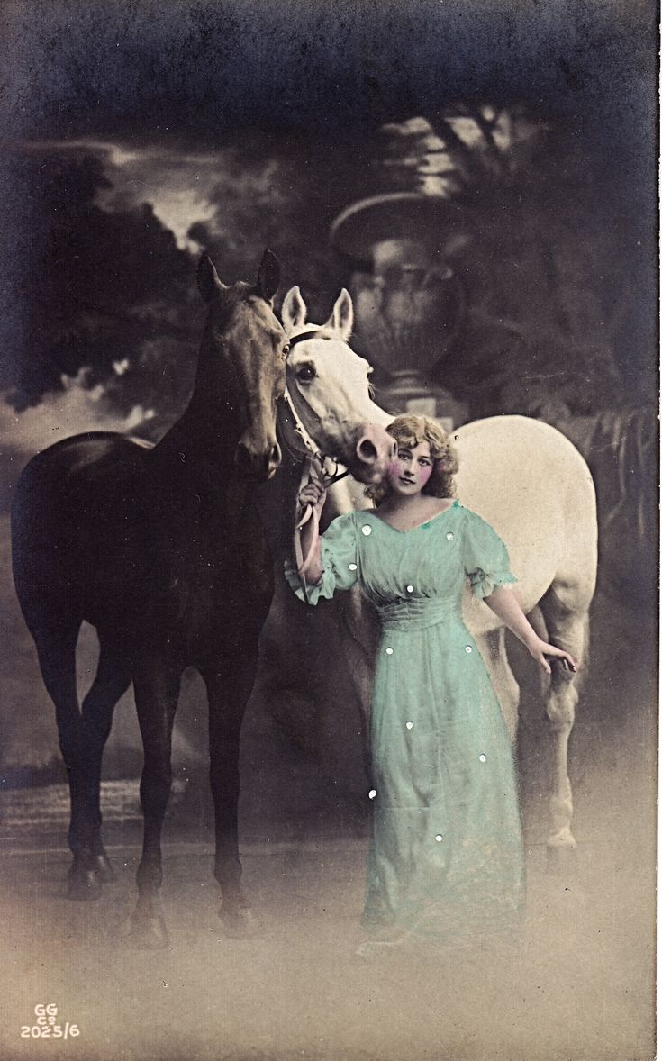 "In the ""Golden Age"" of postcards, the early 1920s, real photo cards were all the rage. I've found that there was a real trend in having women pose in romantic, flowing dresses with their horses . . ."