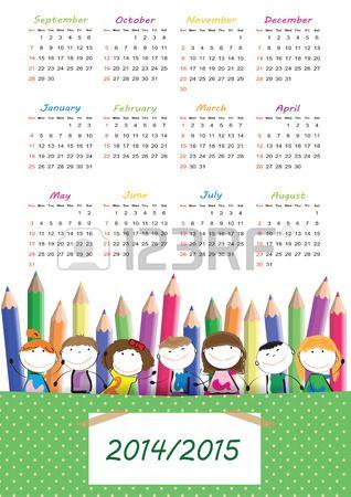 Bunte Schulkalender auf Neujahr School von 2014 bis 2015 year Stockfoto - 26368959