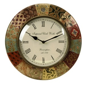 Imax Barberry Handpainted Wall Clock 5514 Clocks Decorative Accents Decor
