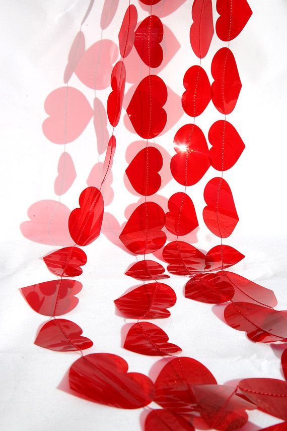 Valentines Day Party Garland RUBI RED color by TransparentEsDecor, $23.60