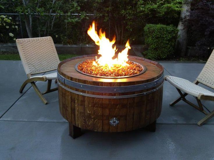Wooden barrel fire pit