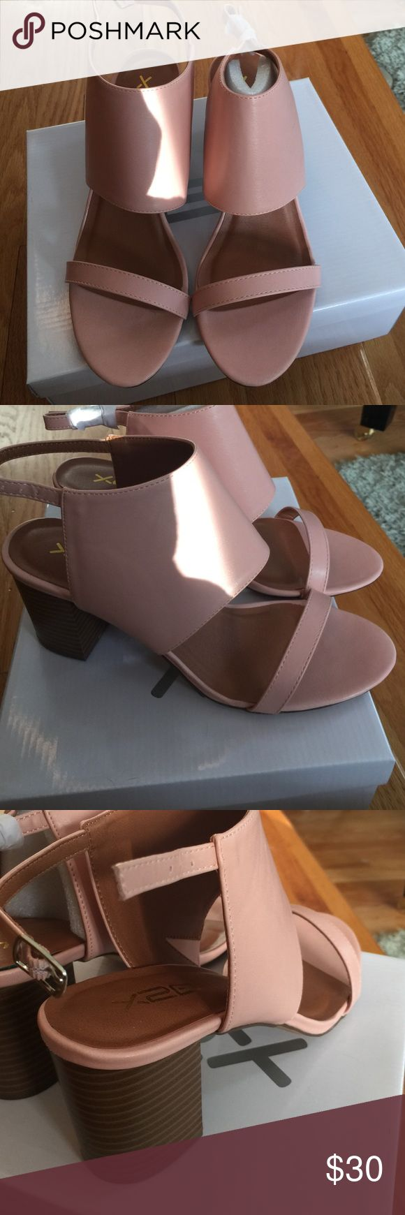 "Pink heeled sandals New never worn still in original box and packing. Size 8.5. 3"" heel blush pink. Synthetic leather Shoes Sandals"