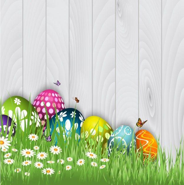 Ovos de Páscoa com borboletas Fundo Vetor grátis