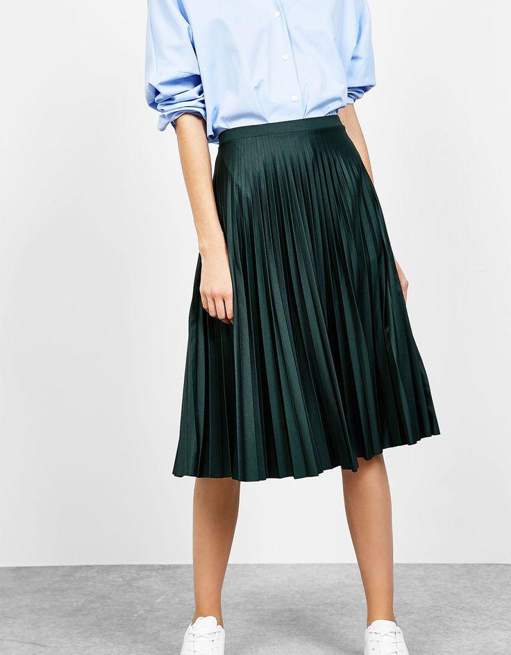 Bershka España - Falda plisada 'línea A' mate