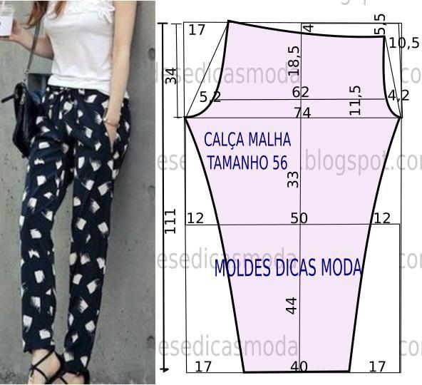 O manequim do molde de calça femininanão corresponde ao tamanho que está na imagem. As medidas correspondem ao tamanho 56. O molde da calça não tem valor