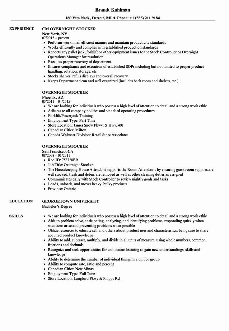Stock Job Description Resume Best Of Overnight Stocker