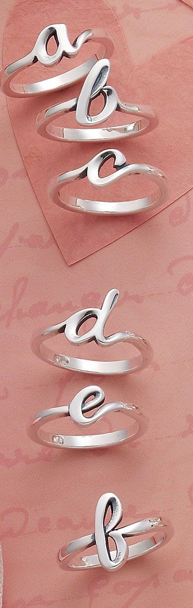 Valentine Collection 2016 - Script Initial Rings, available in A to Z #JamesAvery
