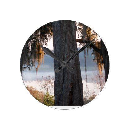 Sunrise over a small lake in the South Round Clock - oak gifts tree leaves style nature gift idea cyo