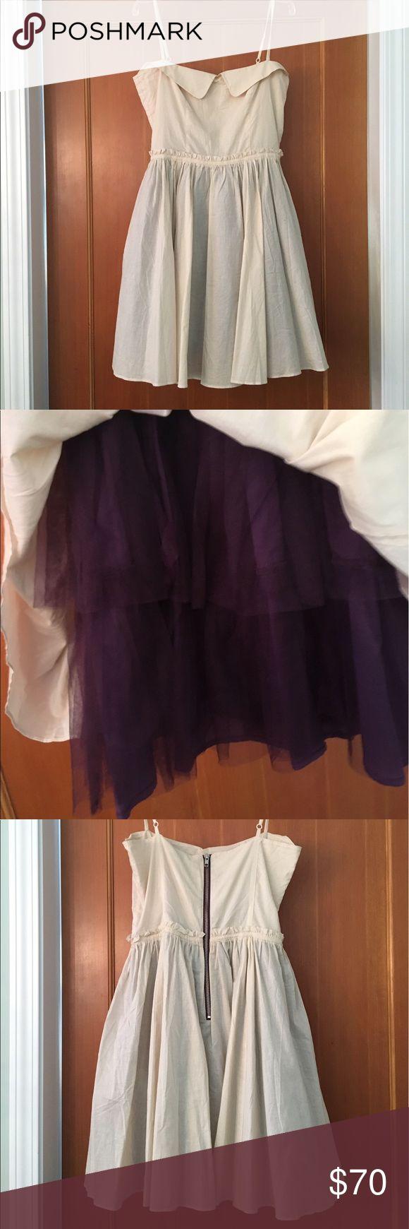 Cream tea party dress Cream tea party dress with purple tool underneath, zip in the back, worn once johnnie b Dresses Mini