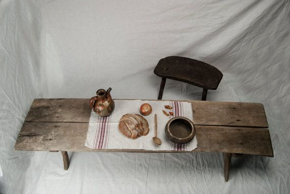 Wooden long dining table Primitive kitchen decor by RusticHomeDeco