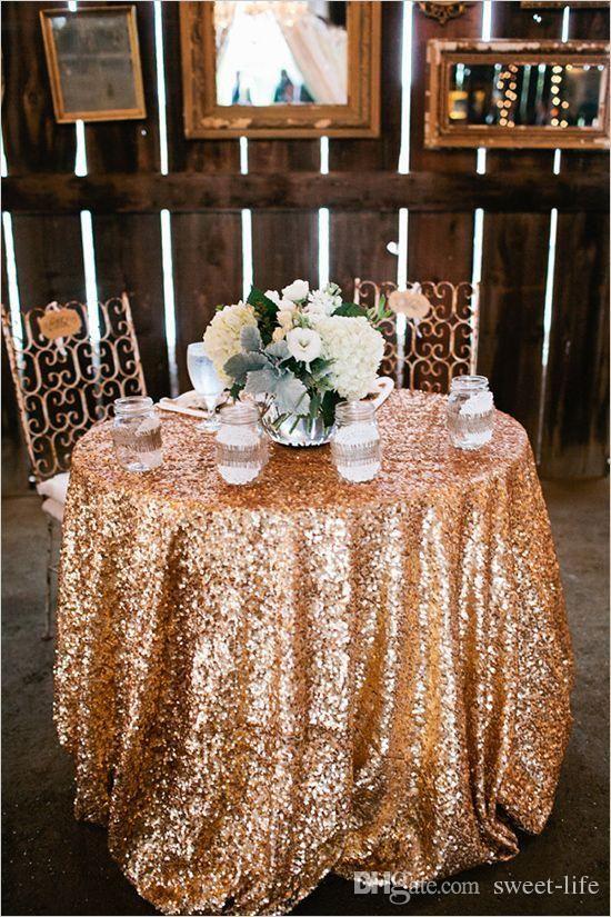 2015 Cheap Rose Gold Bling Bling Sequins Wedding