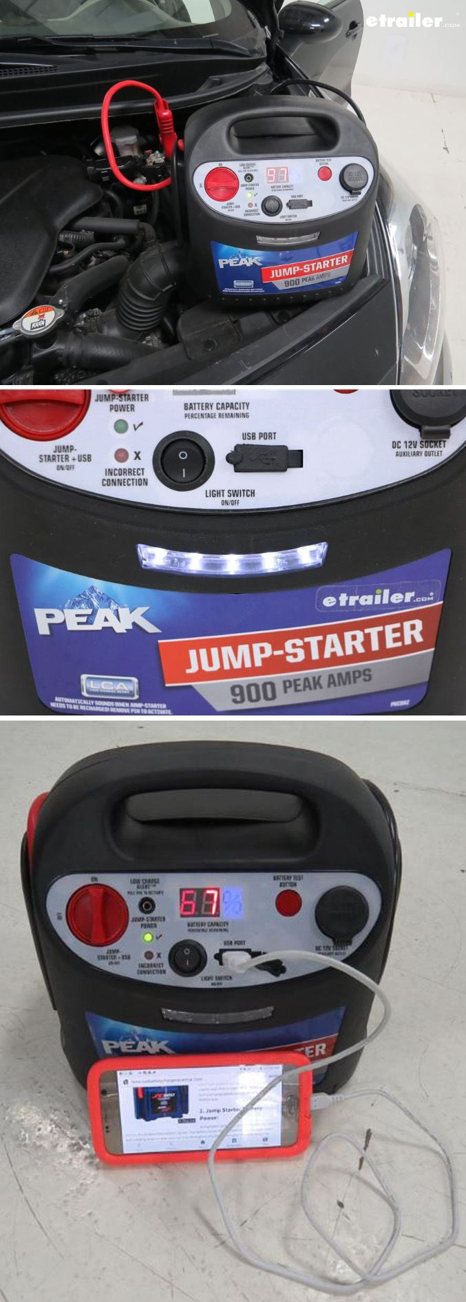 This 900-amp jump starter allows you to jump-start your own battery, meaning there's no need to wait on others anymore. Whether you're in your daily ride or weekend play toy, the jump starter will get you up and running in no time. And for those on the go, an integrated 1-amp USB port and 12V DC outlet will give your electronic devices a boost in a pinch.