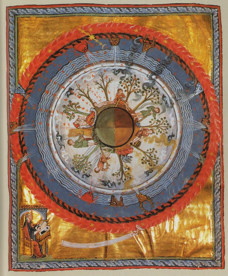 "Cultivating the Cosmic Tree  Illumination of Hildegard of Bingen. ""Out of the original source of the true Love in whose knowledge the cosmic wheel rests, there shines forth an exceedingly precise order over all things. And this order which preserves and nourishes everything comes to light in a way that is ever new…"""