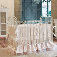 love the crib, bows, and tule at bottom is SO PRECIOUS - Bratt Decor Venetian Crib Antique White BRDCV01AW