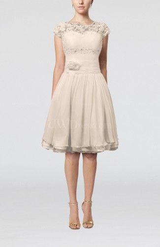 Hot Pink Cinderella A-line Scalloped Edge Short Sleeve Chiffon Knee Length Bridesmaid Dresses - UWDress.com