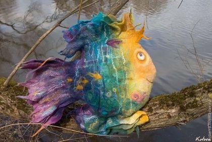 """Текстиль, ковры ручной работы. Ярмарка Мастеров - ручная работа Подушка """"Волшебная Рыба"""". Handmade."""
