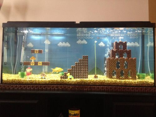 Awesome Super Mario Bros. fish tank made with LEGOs very geeky cool