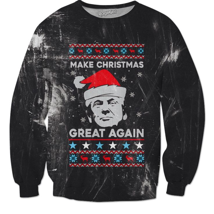 "Many Products! ""Make Christmas Great Again"" - Grunge style Funny message goes great for Pro-Trump and Anti-Trump fans. Christmas Sweater & many more product https://www.rageon.com/products/donald-trump-christmas-sweater-make-christmas-great-again-grunge?aff=HcrD"