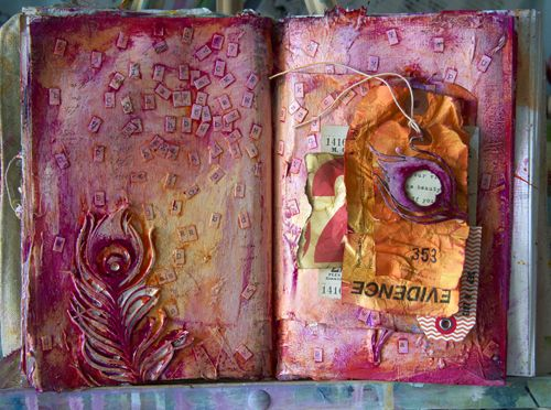 9.18.13-Donna Downey rocks!  Mulberry paper, acrylic glaze, ephemera, ink spray...love the colors and texture.