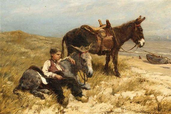 Willem Maris - Ezelsjongen met ezels op het strand van Scheveningen