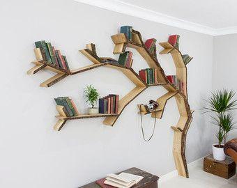 Oak Tree Branch Shelf 2.4m wide by 1.2m high by BespOakInteriors