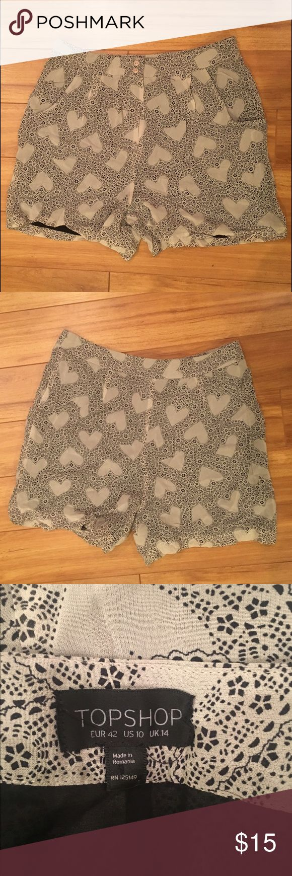TopShop Heart Shorts - Size 10 No rips or stains. Topshop Shorts