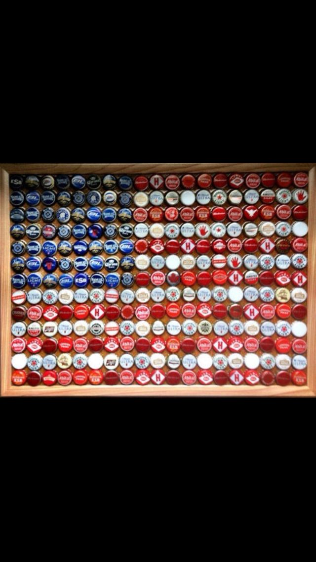 Bottle cap flag. This would look awesome at The River!!! Could also make an A one!!!