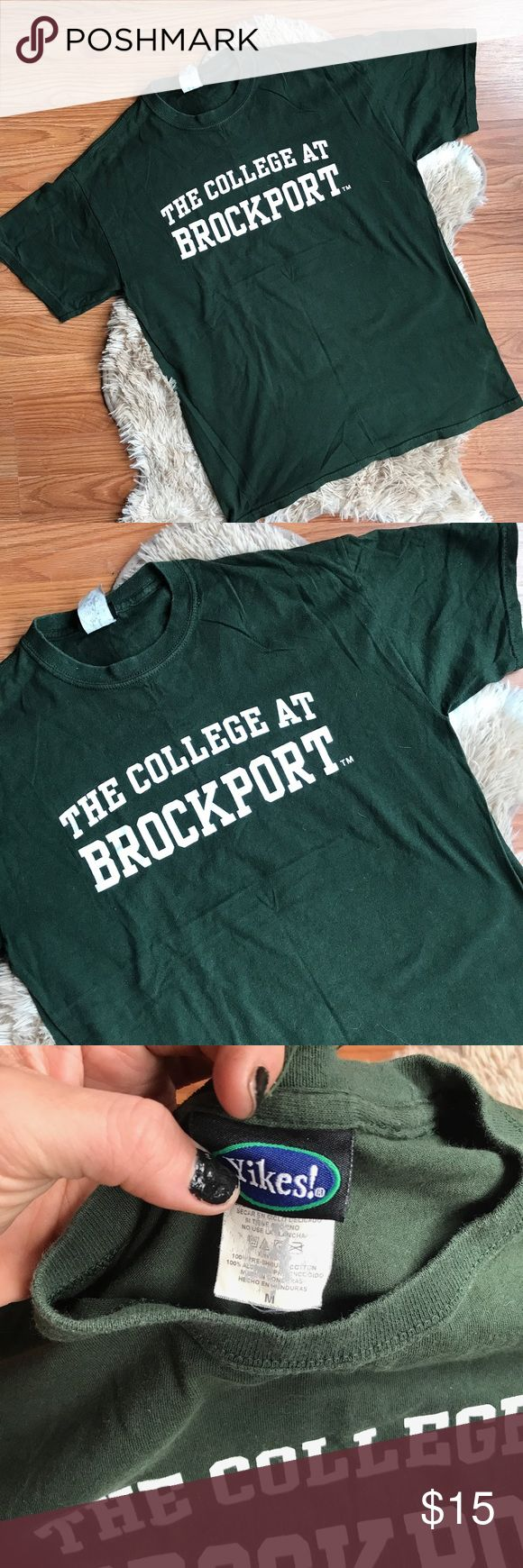 vintage • dark green university logo t-shirt DARK HUNTER GREEN THE COLLEGE AT BROCKPORT GRAPHIC T-SHIRT • size medium • excellent vintage condition; no holes stains, cracking or discoloration  • just in time for back to school! ----- #collegetee #suny #brockport #classictee #vintagetee #vintagetshirt #vintage #vtg Vintage Tops Tees - Short Sleeve