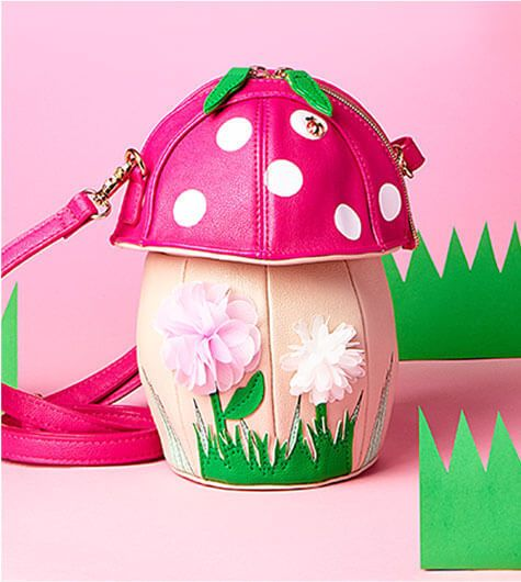 Betsey Johnson KITSCH SHROOMIN CROSSBODY BJ66210H Mushroom w Polka Dots, Flowers #BetseyJohnson #MessengerCrossBody