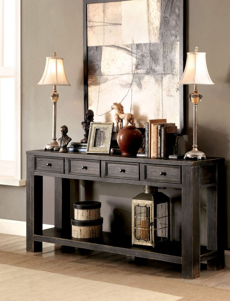 Furniture of America Zella Transitional Storage Sofa Table in Antique Black - Enitial Lab IDF-4327S