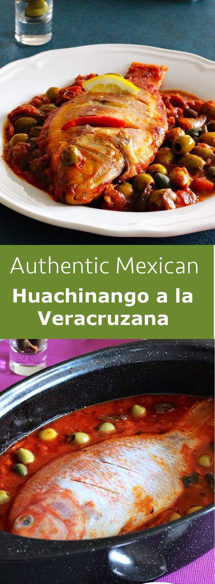 Huachinango a la Veracruzana is a traditional Mexican main course prepared with red snapper cooked in a spicy tomato sauce. #fish #