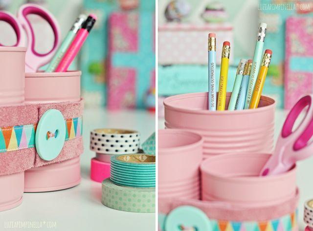 luzia pimpinella | upcycling DIY | konserve zur stiftedose | tin can to pencil cups