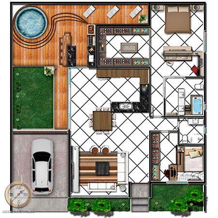 Mas de imagens sobre planta baixa no pinterest for Casa moderna de 7 00m x 15 00m