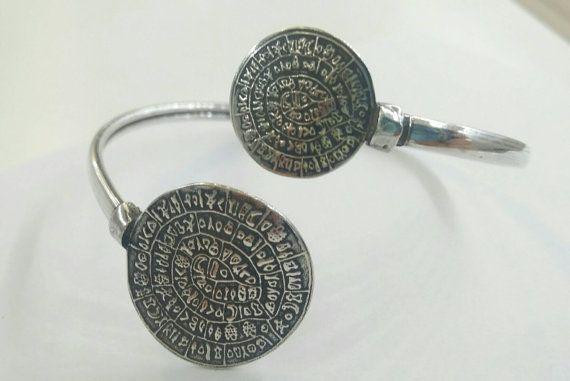 Disc of Phaestos bracelet in silver
