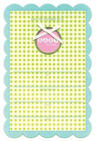 Boy or Girl Gingham Baby Shower Invitations - Package of 10 by Unknown. $1.98. Gingham Baby Shower Invitations. Perfect for when you do not know what you are having or even if you do! These scalloped edge neutral baby shower invitations come complete with lines, ready to fill in for who the shower is for, date & time, place and rsvp! Simple and stylish!