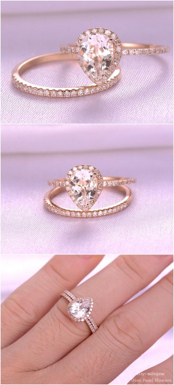 Pear Cut pink Morganite Engagement ring / http://www.deerpearlflowers.com/rose-gold-engagement-rings-from-milegem/2/