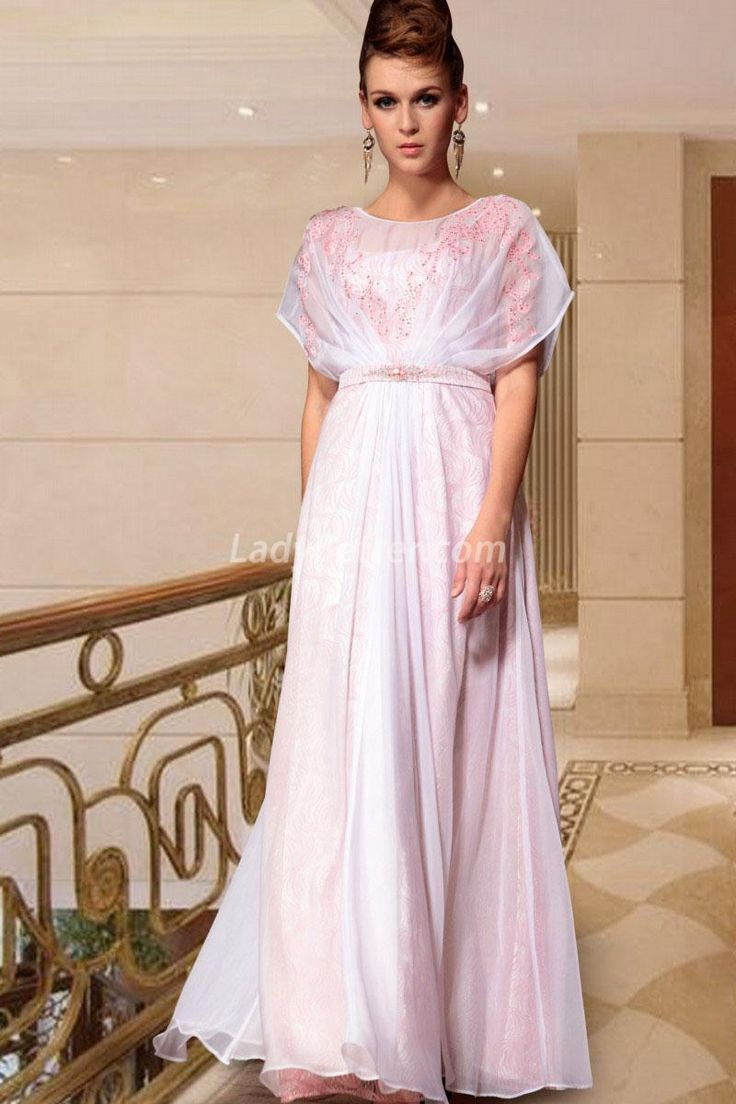 Chiffon Twinkle Blouse Pink A-line Long Evening Gown