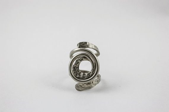 Boho hammered ring  Medusa ring  silver band by AntimetryCrafts