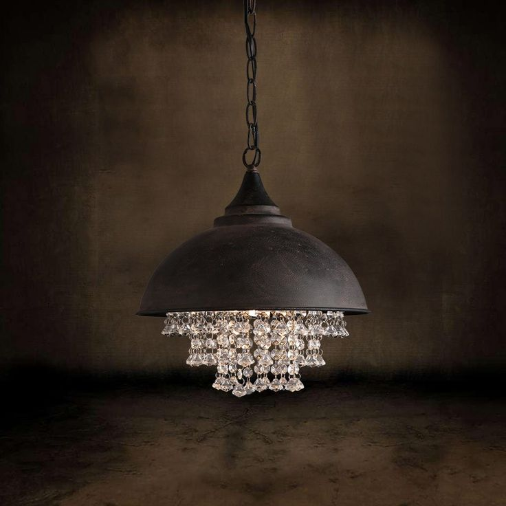 Industrial Metal Dome Shade 1-Light Pendant Light with Clear Crystal, a striking addition to your home decor.