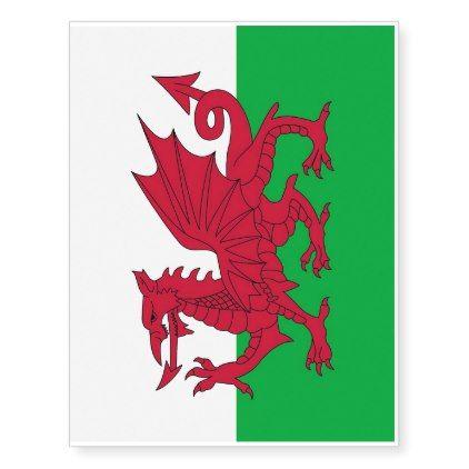 Patriotic temporary tattoos Wales Flag - cool gift idea unique present special diy