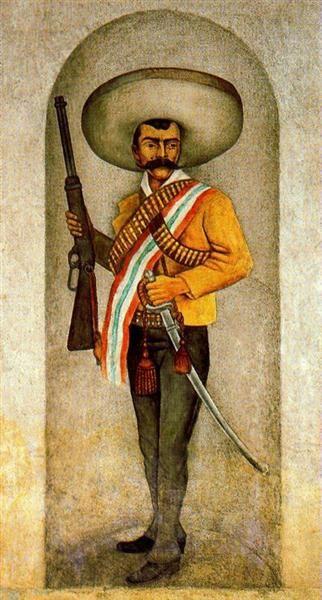 Zapata, 1931 by Diego Rivera. Naïve Art (Primitivism). portrait. Museo Quaunahuac, Instituti Nacional de Antropologi