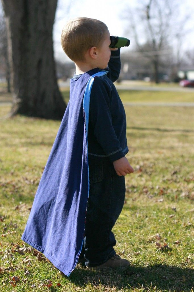Awesome cape tutorial. This is a super easy way to make a cape for a kid. Next time I would make it a little bit wider all over, and curve the bottom corners.