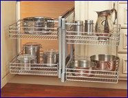 Cabinet Accessories Unlimited: cabinet hardware, closet organizers, wine racks, trash cans and recycle bin, built in ironing boards, laundry accessories, spice racks, storage, lazy susan #kitchen #blackboard